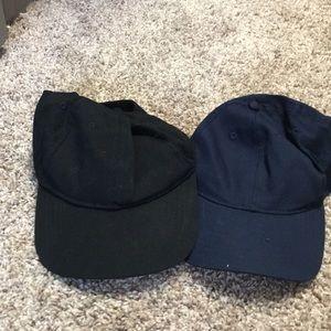Two plain navy blue & black hats